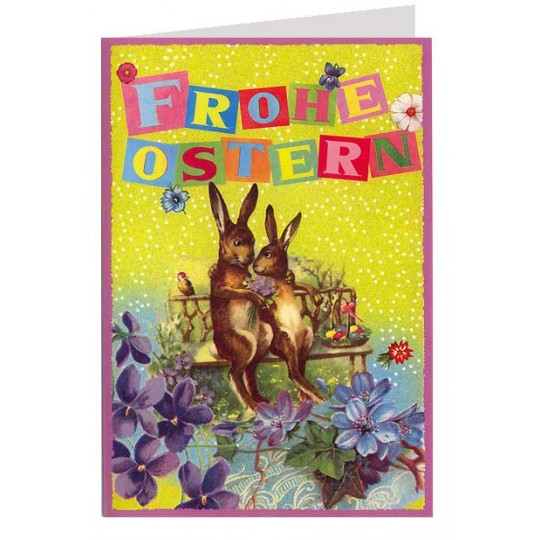 Bright and Festive Bunnies on a Bench Glittered Easter Card ~ Germany