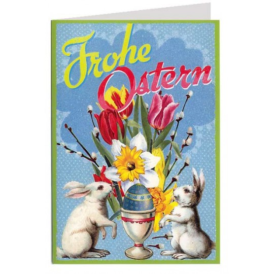 Bright and Festive Bunnies with Eggs Glittered Easter Card ~ Germany