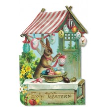 Bunny Egg Stand Die-Cut Easter Card ~ Germany