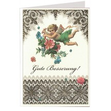 Gold Foil Lace Angel and Flowers Card ~ Germany