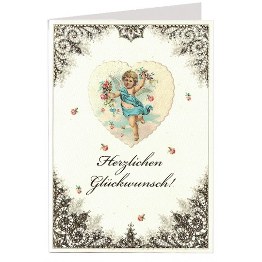 Gold Foil Lace Angel and Heart Card ~ Germany