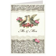 Gold Foil Lace Doves and Roses Card ~ Germany