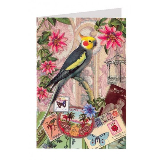 Parakeets and Ephemera Collage Style Glittered Bird Card ~ Germany