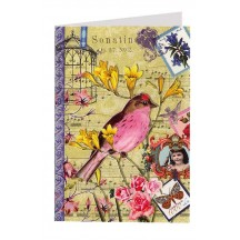 Pink Bird and Ephemera Collage Style Glittered Card ~ Germany