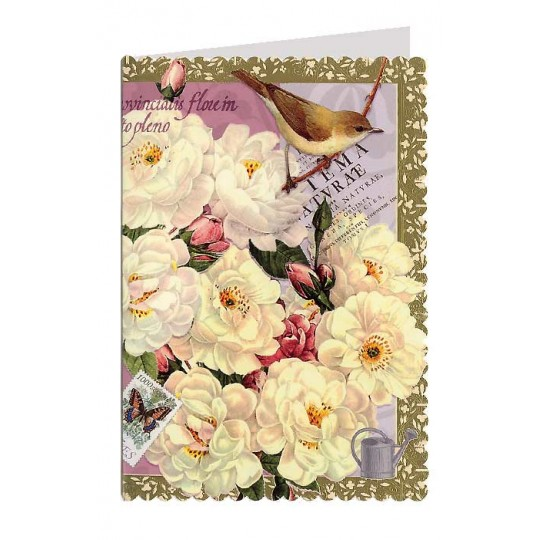 Scalloped Bird with Peonies Collage Style Card ~ Germany