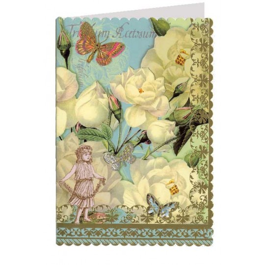 Scalloped White Roses with Butterflies Collage Style Card ~ Germany
