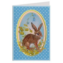 Blue Polka Dot Bunny Easter Card ~ Germany