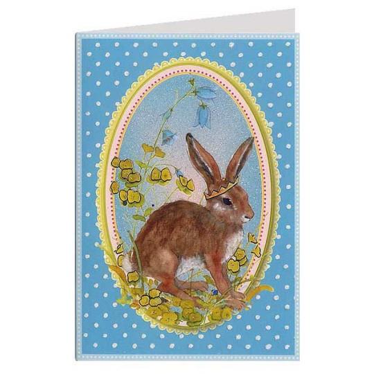 Blue Polka Dot Bunny Easter Card ~ Germany