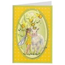 Yellow Polka Dot Fairy and Lamb Easter Card ~ Germany