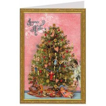 Pink Christmas Tree Glittered Christmas Card ~ Germany