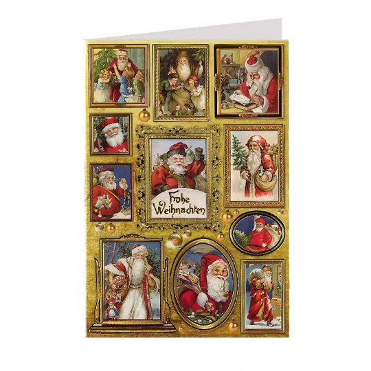Santas in Frames Christmas Card ~ Germany