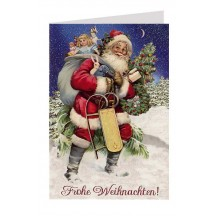 Santa with Sled and Toys Glittered Christmas Card ~ Germany