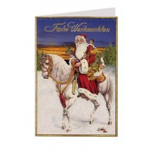 Santa on White Horse Glittered Christmas Card ~ Germany