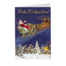 Santa's Reindeer Sleigh Glittered Christmas Card ~ Germany