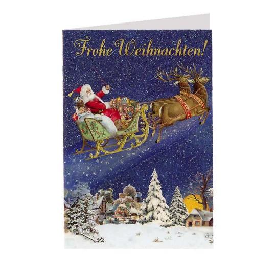 Santa's Reindeer Sleigh Glittered Christmas Card ~ Germany