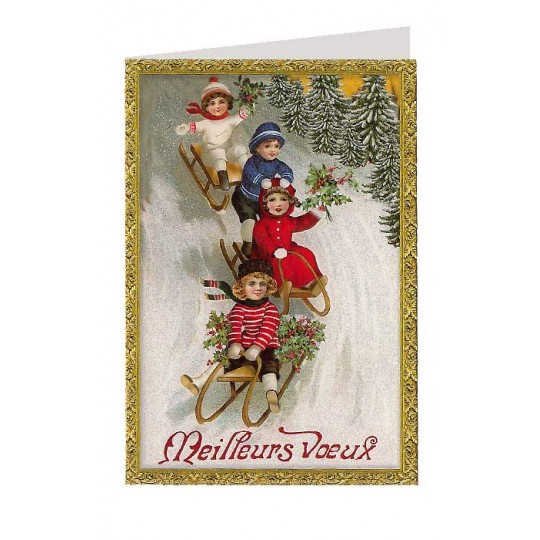 French Children Sledding Glittered Christmas Card ~ Germany