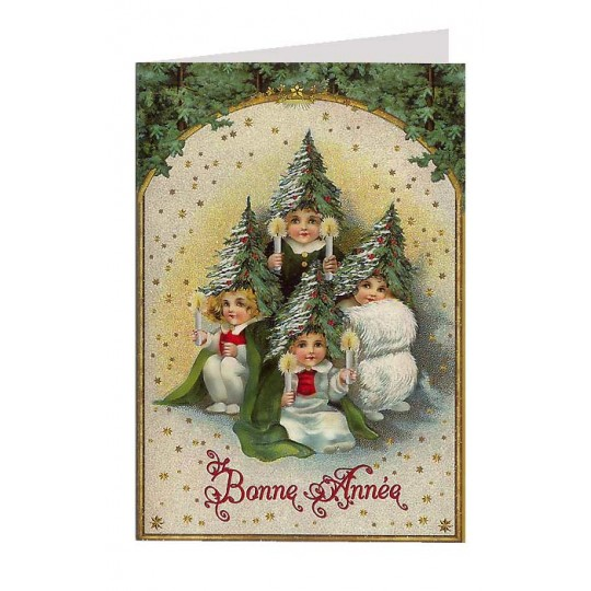 Victorian Tree Children Glittered Christmas Card ~ Germany