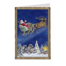 Santa's Reindeer Sleigh Advent Calendar Card ~ Germany