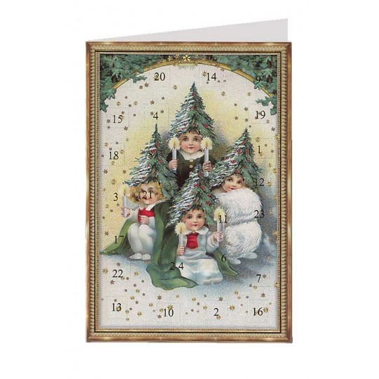 Victorian Tree Children Advent Calendar Card ~ Germany