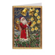 Santa Ringing Bells Glittered Christmas Card ~ Germany