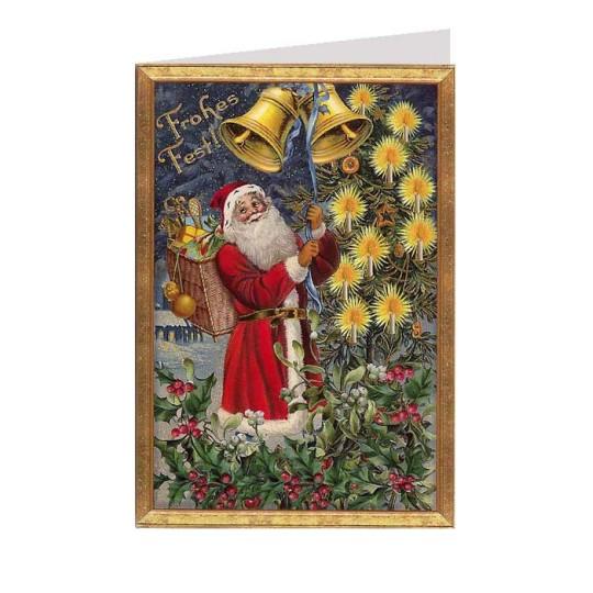Santa Ringing Bells Glittered Christmas Card ~ Germany