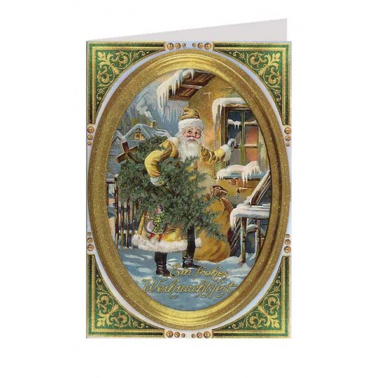 Santa in Golden Jacket Glittered Christmas Card ~ Germany