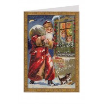 Santa at the Front Window Glittered Christmas Card ~ Germany