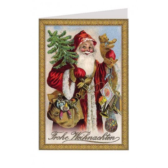 Santa with Bear Glittered Christmas Card ~ Germany