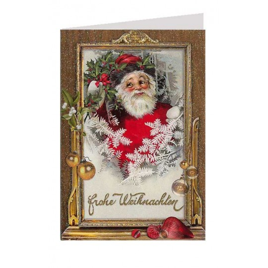 Santa with Golden Frame Glittered Christmas Card ~ Germany