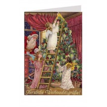 Angels Adorn the Christmas Tree Glittered Christmas Card ~ Germany