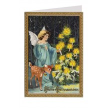 Blue Angel with Deer Glittered Christmas Card ~ Germany