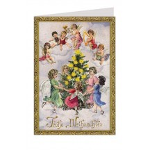 Angels Around the Tree Glittered Christmas Card ~ Germany