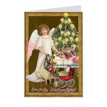 Angel with Gifts in Gold Foiled Christmas Card ~ Germany