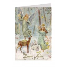 Forest Angels Glittered Christmas Card ~ Germany