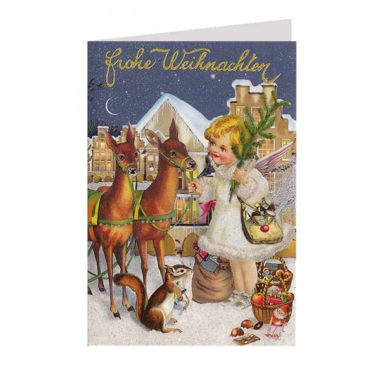 Angel and Deer Glittered Christmas Card ~ Germany