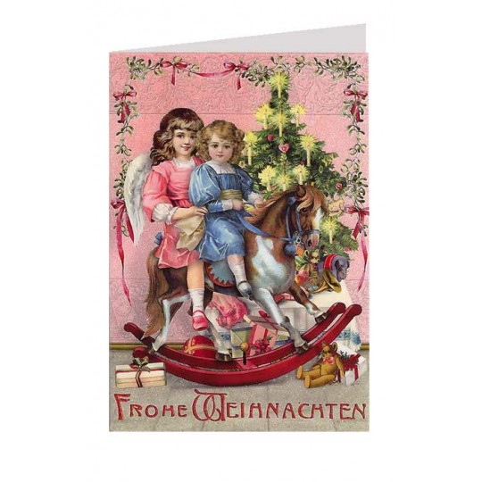 Angels with Rocking Horse Glittered Christmas Card ~ Germany