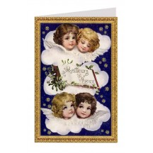 Heavenly Angels Blue Foiled Christmas Card ~ Germany