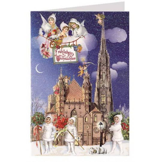 Stephansdom Vienna Glittered Christmas Card ~ Germany