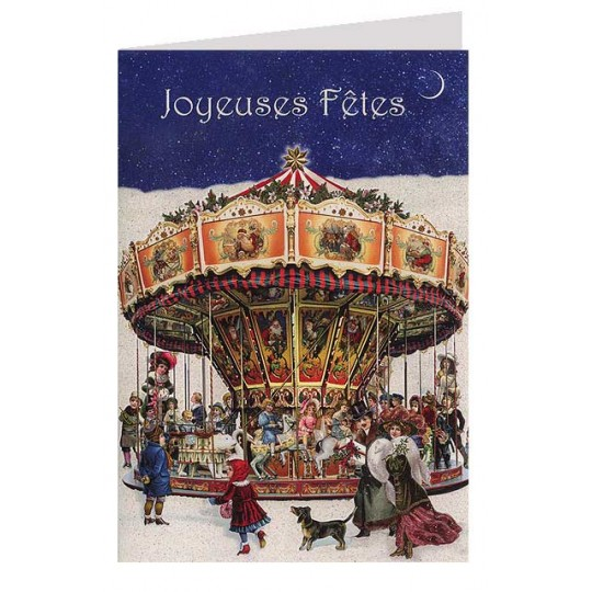 Christmas Carousel Glittered Christmas Card ~ Germany
