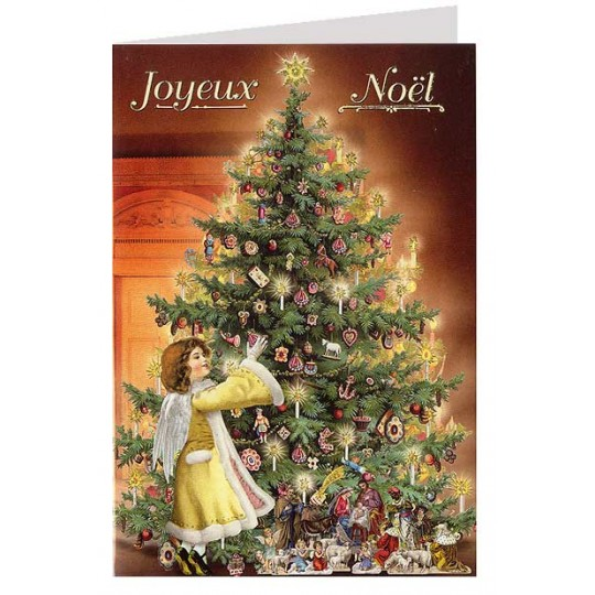 Christmas Angel with Tree Glittered Christmas Card ~ Germany