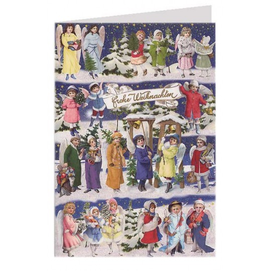 Snow Angels Glittered Christmas Card ~ Germany
