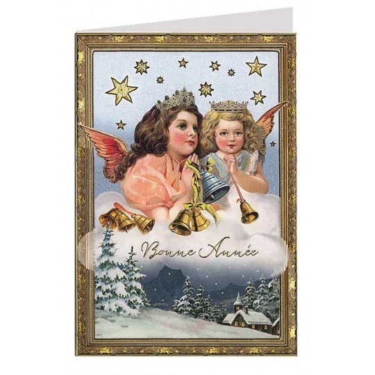 Beautiful Angels with Bells Gold Stamped Christmas Card ~ Germany