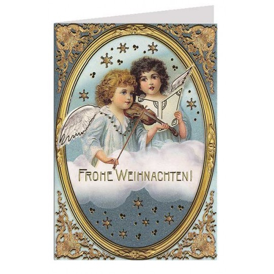 Musical Angels Gold Stamped Christmas Card ~ Germany