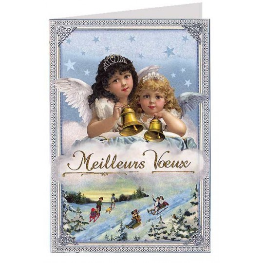 Christmas Angels with Bells Glittered Christmas Card ~ Germany