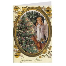 Angel Decorating Tree with Deer Gold Stamped Christmas Card ~ Germany
