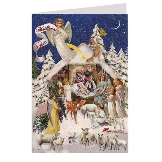Nativity Scene With Angels Glittered Christmas Card Germany