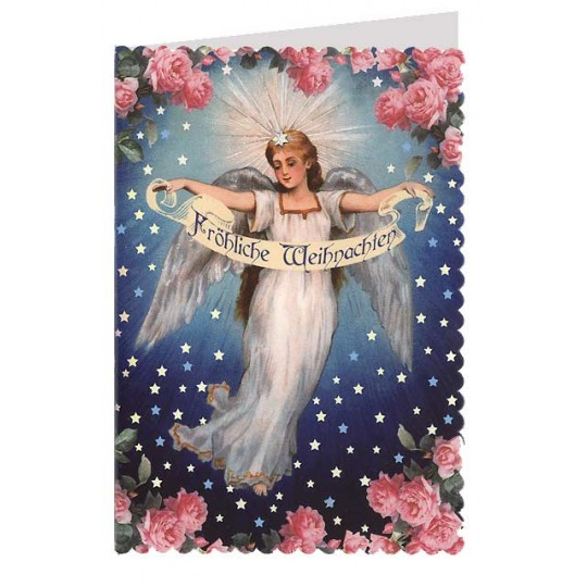 Angel with Roses Silver Foil Stamped Christmas Card ~ Germany