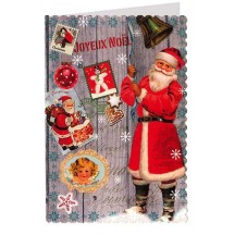 Classic Santa Christmas Collage Glittered Christmas Card ~ Germany