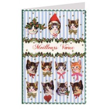 Christmas Cats Gold Foil Stamped Christmas Card ~ Germany