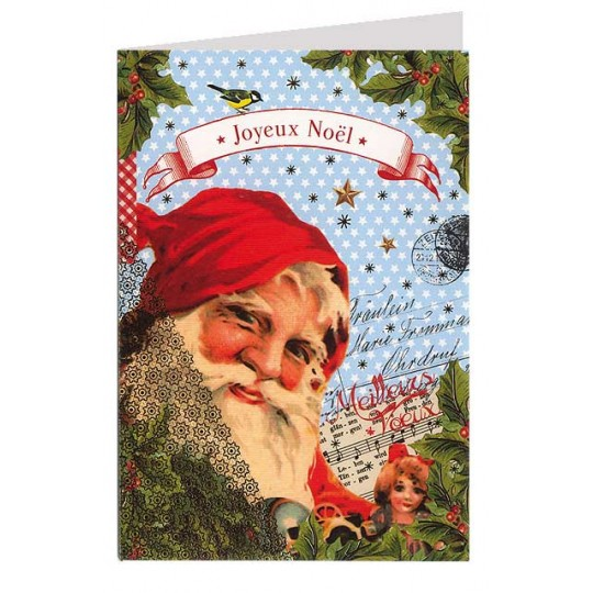 Santa Christmas Collage Foil Stamped Christmas Card ~ Germany